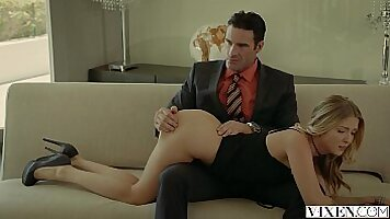 Hot blonde chick Erica teasing in her threesome with her musclelifter boss