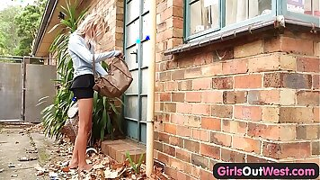blonde amateur caught humping BBC outdoors