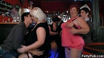 Two fat chicks fucking in threesome at party
