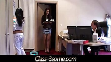 Lusty office girl threeway with boss
