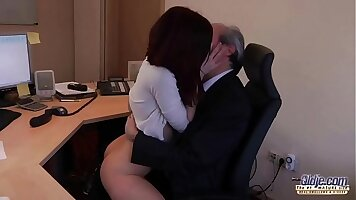Boss sucks young girl for reward in office