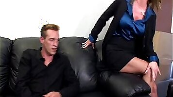 Beautiful secretary love to play with her cock