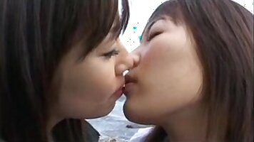 Japanese married couple fucking and getting get off with lesbian kiss sucking