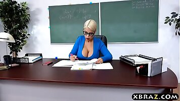 Big tits latina student eating a view of her teacher