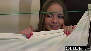 Young blonde teen playing with pussy out loud blowjob