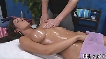 Sensual massage in front of a camera