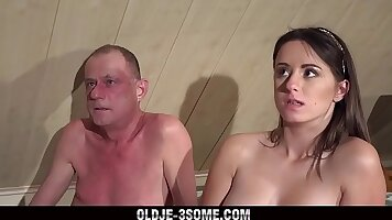 Sandra Has Roommate Threesome with her Angry Grandpa Huge Cock