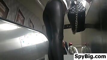 Blonde in leather high heel banged by chap backwards