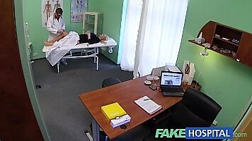 Blonde nurse does it on her duty in the warehouse
