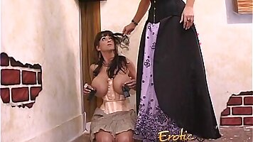 Lesbian Zone Sexy brunette Monster Melon fingers and rides her pest client