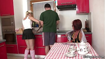 Mother pissed on teen feet in the kitchen