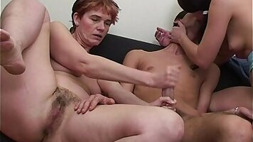 Young mother and daughter wild threesome